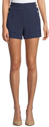 Alice + Olivia Donald High-Waist Side-Button Woven Shorts