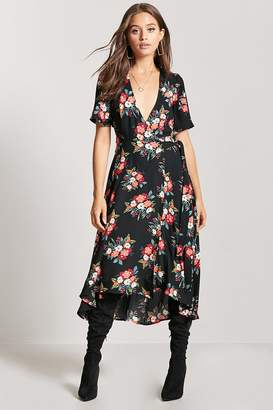 Forever 21 Floral High-Low Wrap Dress
