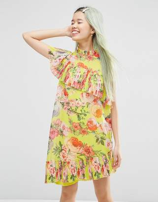 Asos Pleated Shift mini dress in Bright Acid Floral