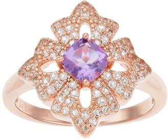 14k Rose Gold Over Silver Amethyst & White Topaz Flower Ring