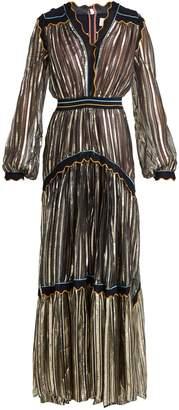 Peter Pilotto Metallic tiered silk-blend chiffon gown