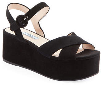 0d1c3e38705 Prada Black Wedge Heel Women s Sandals - ShopStyle