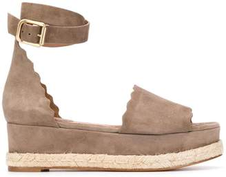 Chloé scallop-trim platform sandals
