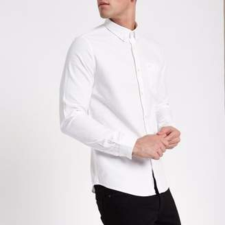 River Island Mens White wasp embroidered pocket Oxford shirt