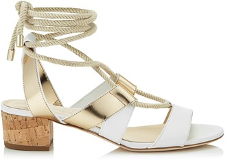 Jimmy Choo MADDIE 40 White Vachetta and Gold Mirror Leather Sandals
