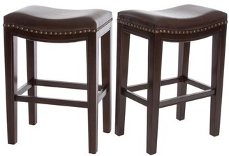 Noble House Santina Brown Backless Counter Stools (Set of 2)