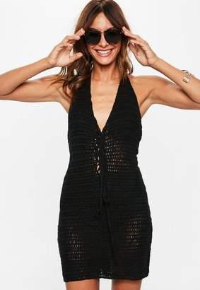 Missguided Black Crochet Halterneck Lace Up Knit Mini Dress