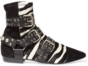 Isabel Marant Rolling Zebra-Print Calf Hair, Suede And Leather Ankle Boots
