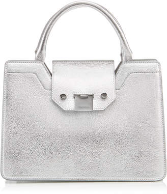 Jimmy Choo REBEL TOTE/S Silver Metallic Soft Grained Goat Leather Tote Bag