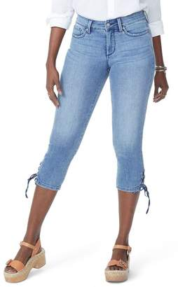 NYDJ High Waist Lace Up Hem Capri Jeans (Point Dume)