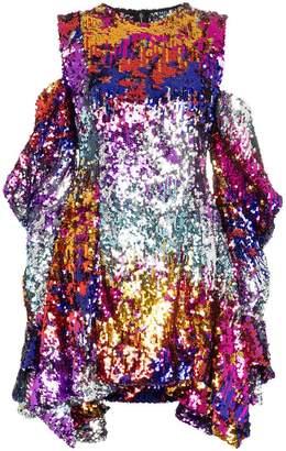 Halpern sequinned cold shoulder mini dress
