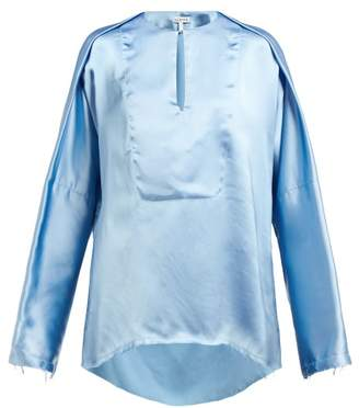 Loewe Frayed V Neck Satin Blouse - Womens - Light Blue