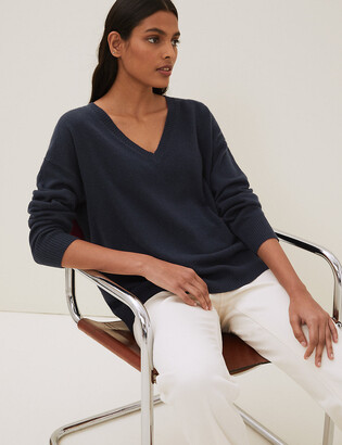 Marks and Spencer Pure Cashmere Relaxed V-Neck Jumper