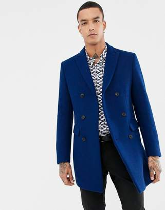 Devils Advocate Premium Wool Rich Double Breasted Peak Lapel Overcoat With Bee Lapel Pin