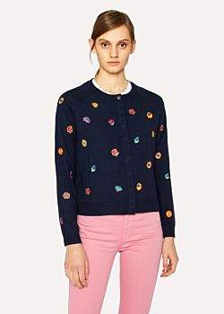 Paul Smith Women's Navy 'Kyoto Floral' Embroidered Wool Cardigan