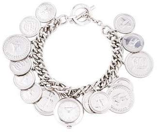 Burberry Sterling Silver Charm Bracelet Watch