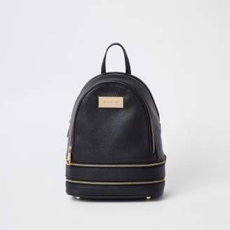 River Island Womens Black double zip bottom mini backpack