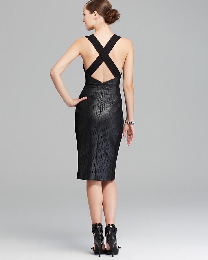 Black Halo Dress - Blayze Sleeveless Laser-Cut Faux Leather Sheath