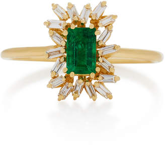 Suzanne Kalan 18K Gold Emerald and Diamond Ring