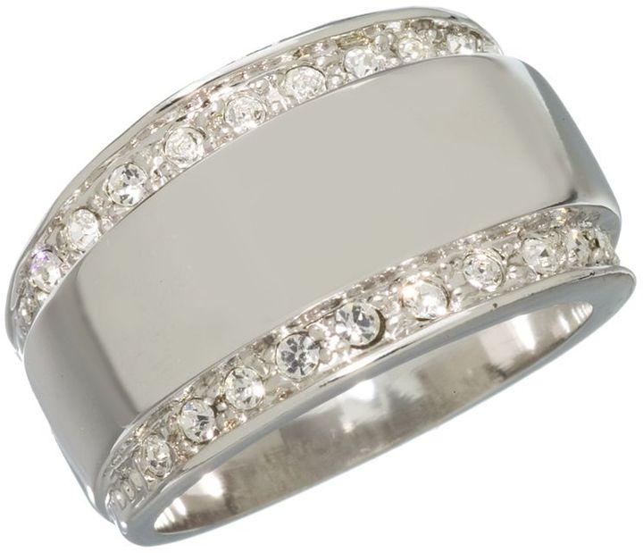 Silver-tone 2-row cubic zirconia ring