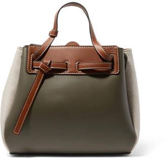 Loewe Lazo Mini Color-block Leather And Linen Tote - Green