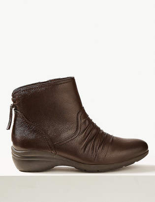 Marks and Spencer Wide Fit Leather Wedge Heel Ankle Boots