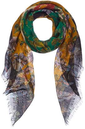 Gucci Flora Butterfly Print Wool & Silk-Blend Scarf