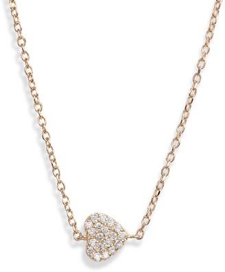 Anzie Love Letter Diamond Pave Heart Pendant Necklace
