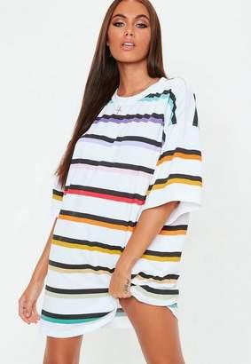 Missguided White Oversized Rainbow Stripe T Shirt Dress