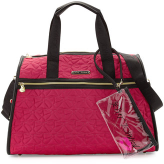 Betsey Johnson Bow Quilted Weekender Bag, Fuchsia $115 thestylecure.com