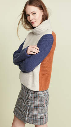Autumn Cashmere Cuffed Colorblock Shaker Sweater