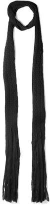 Bottega Veneta - Fringed Wool Scarf - Black $290 thestylecure.com