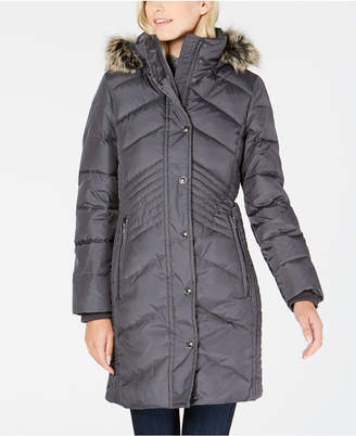 London Fog Faux Fur Hooded Down Puffer Coat