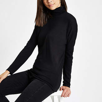 River Island Black roll neck batwing sleeve sweater