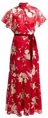 Erdem Celestina Gertrude Embroidered Silk Organza Gown - Womens - Red Multi