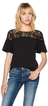 Adrianna Papell Women's Illusion Lace Neck with Ruffle Detail