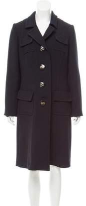 Milly Long Notch-Collar Coat