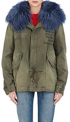 Mr & Mrs Italy Women's Fur-Trimmed Cotton Canvas Mini-Parka - Slate Green, Salt blue