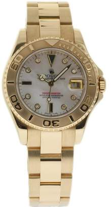 Rolex Yacht-Master 168628 18K Yellow Gold & Mother of Pearl Dial 35mm Womens Watch