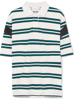 Koché - Satin-trimmed Striped Stretch-cotton Polo Shirt - White