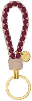 Bottega Veneta Beige and Burgundy Bicolor Intrecciato Keychain