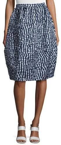 Michael Kors Banded Gingham Dance Skirt, Indigo/White