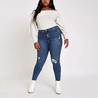 River Island Plus blue Harper ripped super skinny jeans
