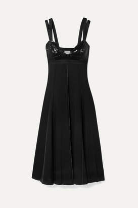 Jason Wu GREY - Cutout Sequined Satin-trimmed Twill Midi Dress - Black