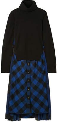 Sacai Chiffon-trimmed Wool And Checked Cotton Turtleneck Midi Dress - Black