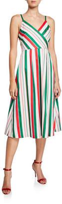 Ted Baker Striped V-Neck Sleeveless Midi Dress