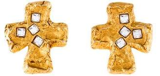 Christian Lacroix Crystal Cross Clip-On Earrings