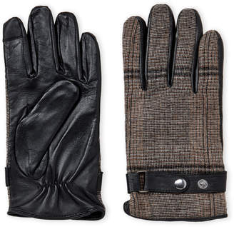 Gloves International Plaid Wool & Leather Gloves