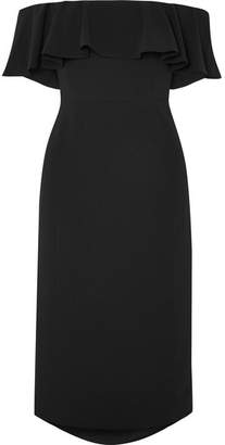 Halston Ruffled Off-the-shoulder Stretch-crepe Midi Dress - Black