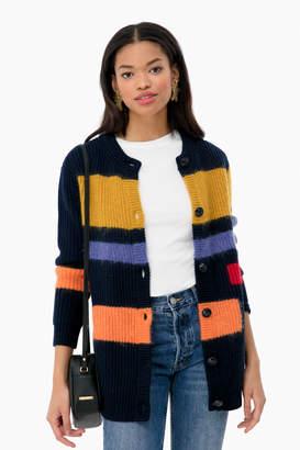 Tory Burch Colorblock Mohair Sweater Coat